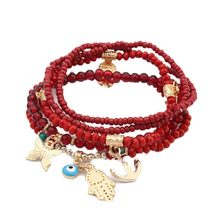 2017 Lucky Kabbalah Fatima Hamsa Hand Blue Evil Eye Charms Bracelets & Bangles Multilayer Beads Turkish Pulseras For Women(China)