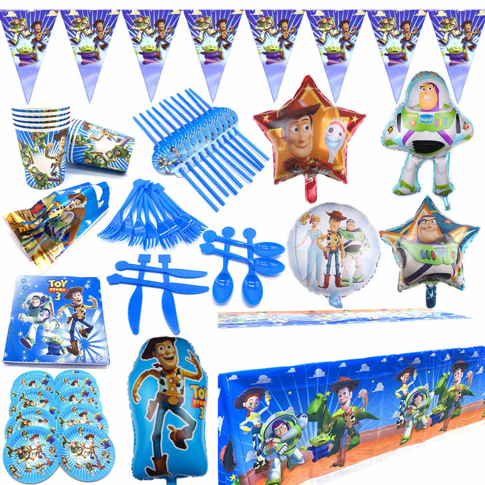 Disney Toy Story Theme Plates Cups Baby Shower Tablecloth Napkins Flags Decorate Boys Favors Tableware Set Birthday Party Banner