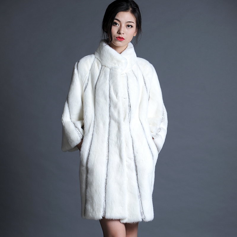 High Quality Imported Mink Fur Coat Women With Snakeskin Winter Thickening Warm Jackets Luxury Abrigos Mujer MF283