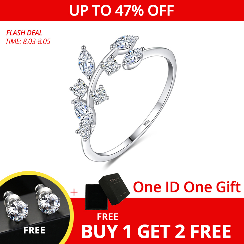 CZCITY Korean 925 Sterling Silver Handmade Olive Leaf Rings for Women Exquisite CZ Stone Adjustable Open Ring Silver 925 Jewelry(China)