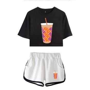 New Charli DAmelio Ice Coffee Splatter Women Two Piece Set Shorts+lovely T-shirt Sexy charli damelio merch Sport suit Girl 11