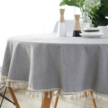 Simple Tassel Table Cloth Round For Table Home Kitchen Tablecloth Cotton Linen Wedding Hotel Dining Table Cover Tafelkleed Nappe