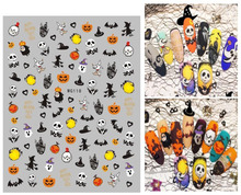 цена на Hot Sale 1Sheets Water Transfer Decal Stickers Nail Art Tips AllHallow'sDay Decoration Ghost manicure  pumpkin skull design