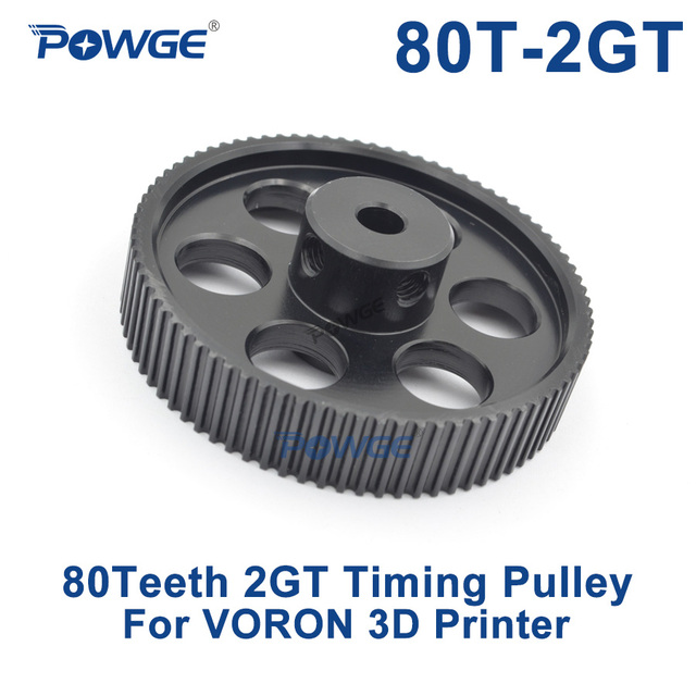 POWGE VORON DESIGN 80 Teeth 2MGT 2GT Timing Pulley Bore 5mm for GT2 2M Open Synchronous belt width 9/10mm 80Teeth 80T 3D printer