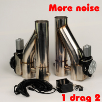 2.5 3 inch stainless Steel 1 drag 2 doubled valve exhaust cutout Pipe Muffler Bypass Exhaust Trim Down Tube Remote Control DYTR| | |  -