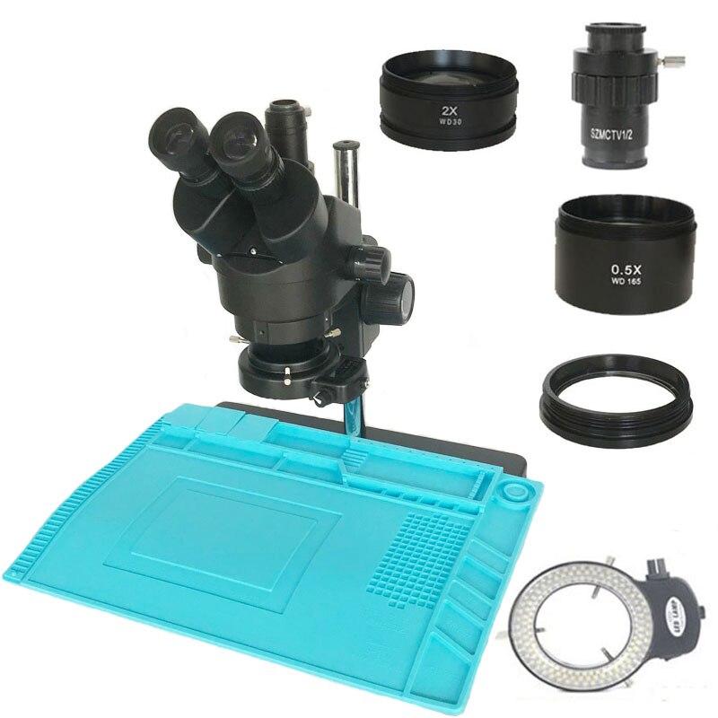 Russie livraison gratuite 3.5X-90X Microscope Zoom stéréo trinoculaire 0.5X 2.0X objectif auxiliaire objectif industriel grand tampon à souder