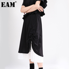 Irregular Skirt Women Spring Autumn Fashion Tide EAM Waist Contrast-Color 1DA215 Black