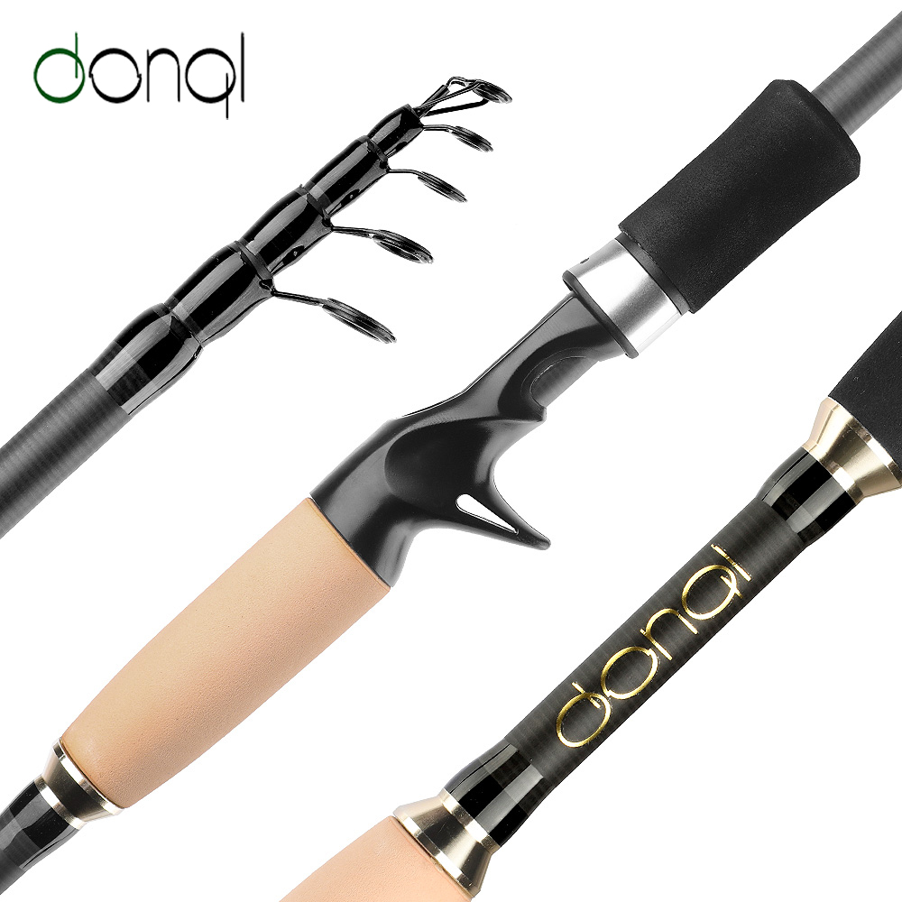 DONQL Telescopic Casting Fishing Rod Carbon Fiber Carp Feeder Spinning Rod1.8M-2.7M Portable Travel Surf Fishing Rod Tackle