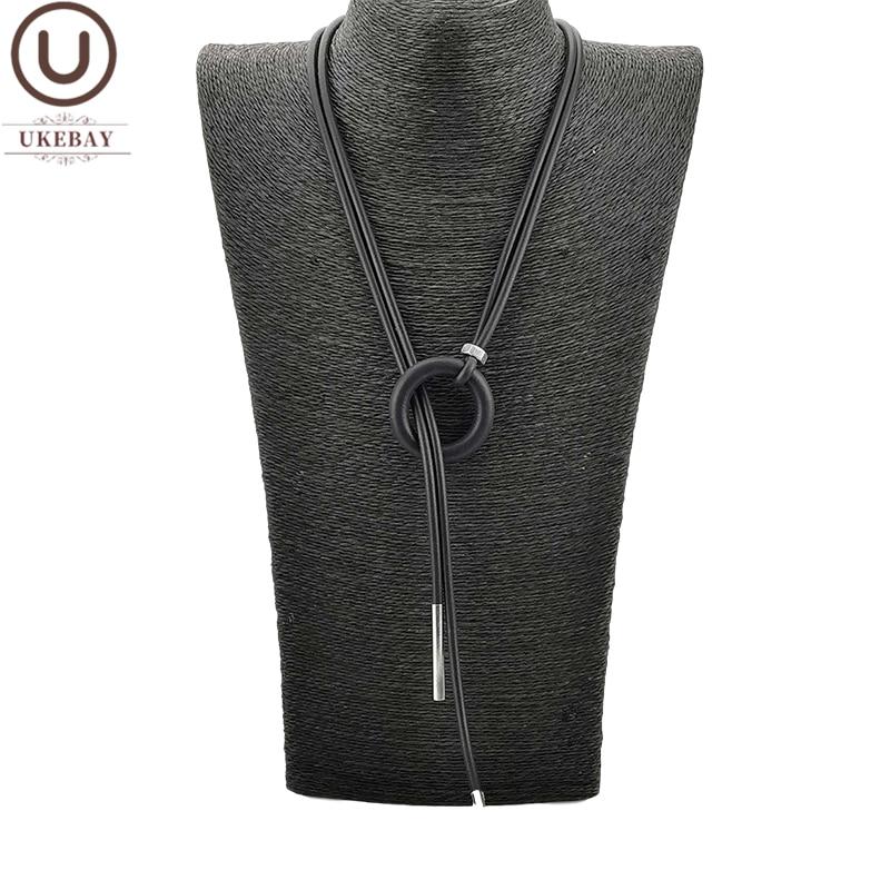 UKEBAY Neue Einfache Anhänger Halskette Frauen Lange Halsketten Einstellbar Ketten Gummi Schmuck Schwarz Seil Boho Schmuck Spiel Kleidung