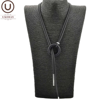 UKEBAY New Simple Pendant Necklace Women Long Necklaces Adjustable Chains Rubber Jewelry Black Rope Boho Jewelry Match Clothes