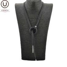 UKEBAY-collar con colgante sencillo para mujer, cadena larga ajustable, joyería de goma, cuerda negra, joyería Bohemia, combina con ropa