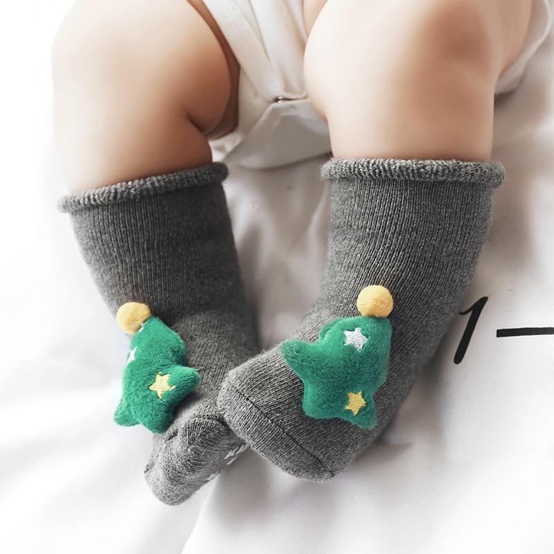 Baby Socks Christmas Silicone Anti Slip Middle Socks For Baby Newborn Winter Warm Cartoon Girls Boys Socks For 1-3Y Babies