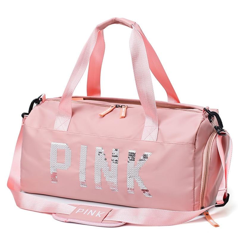 Image 2 - The latest design sequins PINK letter fitness bag dry and wet separation sports bag shoulder Messenger bag couple handbag travel-in Gym Bags from Sports & Entertainment