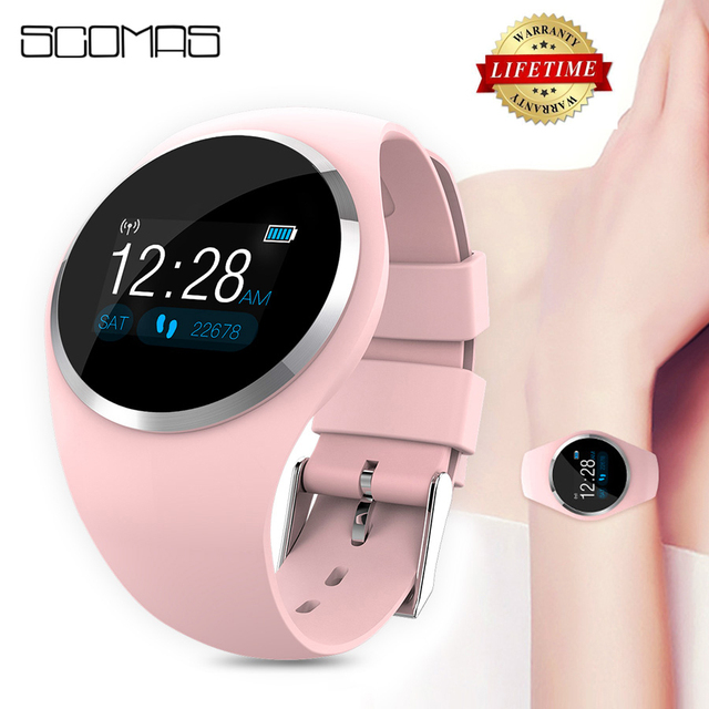 SCOMAS Upgraded Fashion Smart Watch Heart Rate Blood Pressure Monitor Women Physiological Reminder Smartwatch For Android IOS