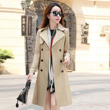 Spring Autumn Trench Coat Double Breasted Trench Coat Woman Trench Coat Long Women Windbreakers Plus Size Overcoat Woman Clothes cheap GPFDRL Full Broadcloth Office Lady Polyester Button Pockets Spliced Patchwork Ages 18-35 Years Old 1A1451 Turn-down Collar