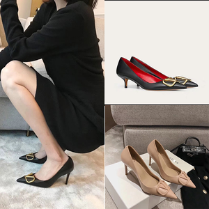 High-Heeled Shoes V-Buckle Pointed Women's Metal French All-Match Temperament Shallow
