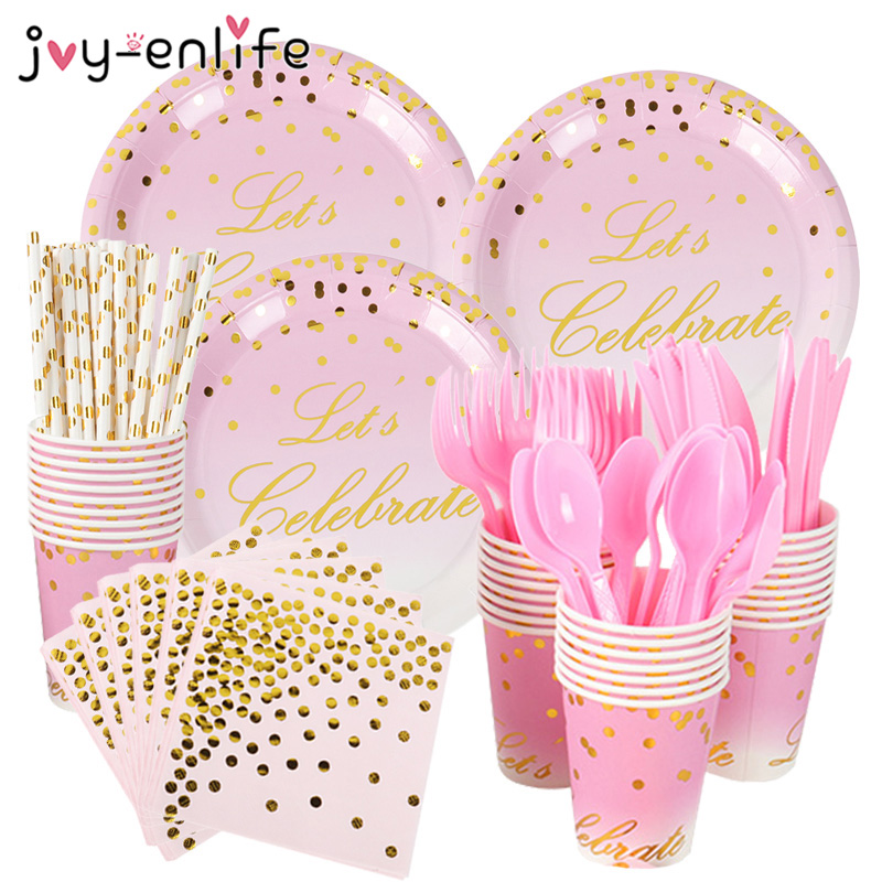 Gold Pink Let Us Celebrate Disposable Paper Plates Cup Sweet 18th 16th Baby Shower 1st Birthday Party Decoration Girls Wedding