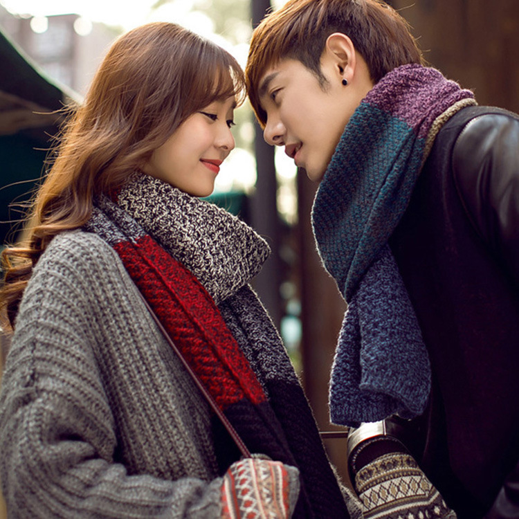 New Style Couples Scarf Women's Winter Korean-style Soft Girl Knitted Yarn Warming Scarf Thick Long MEN'S Scarf