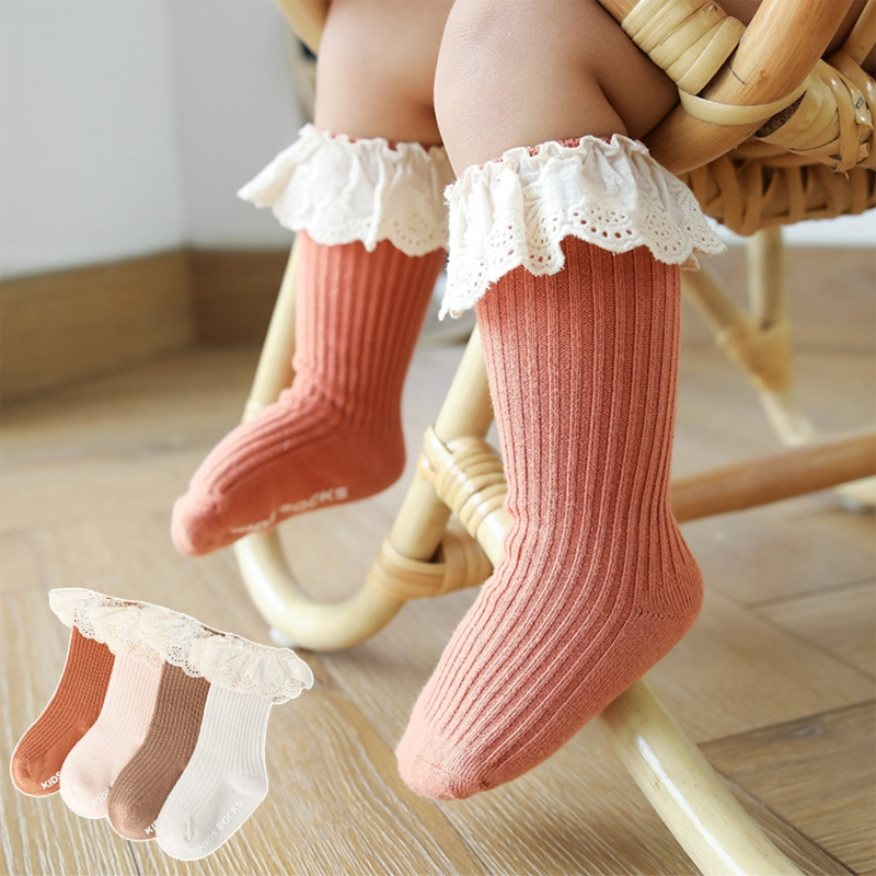 Toddler Infant Baby Girls Knee High Socks with Grips Ruffled Lace Patchwork Ribbed Knit Solid Color Non-Skid Cotton Long Sotckin