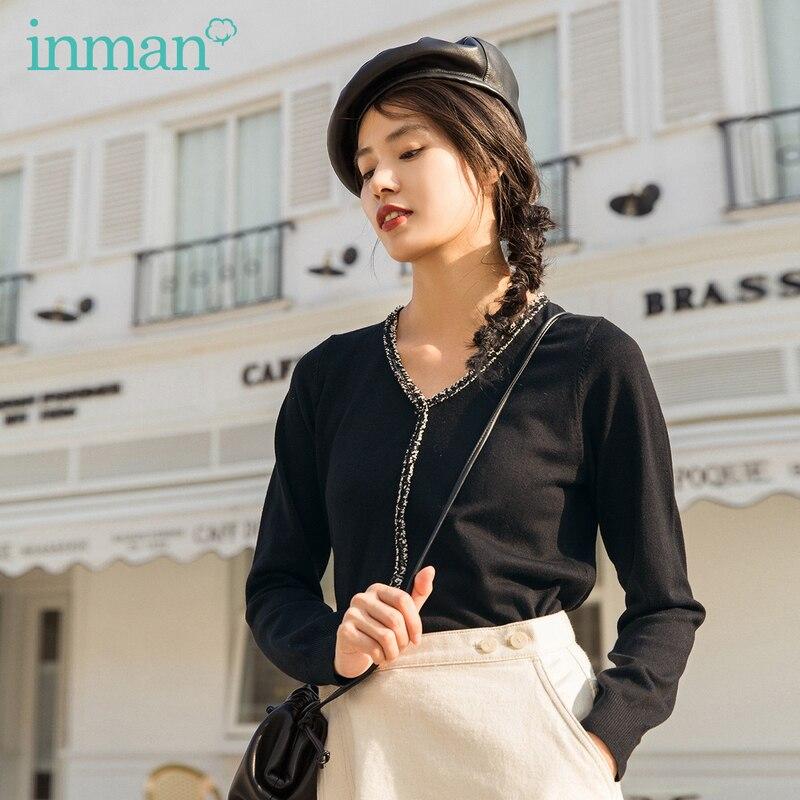 INMAN 2020 Spring New Arrival Literary Fashion Splice Tassel V-line Collar Loose Pullover Knitting Sweater