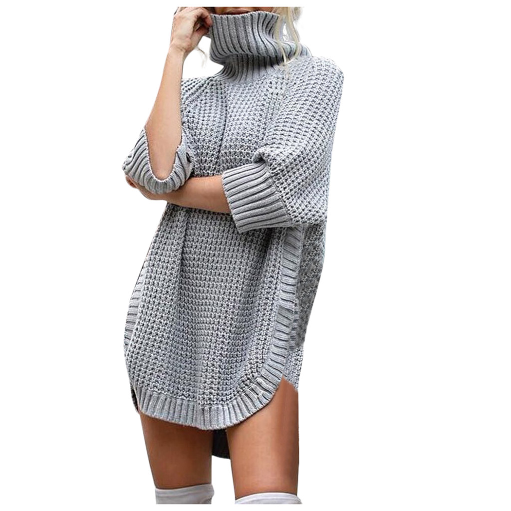 Fashion Women Casual Irregular Solid Long Sleeve Half Sleeve Knitted Sweater Top women autumn winter sweater  aug 23