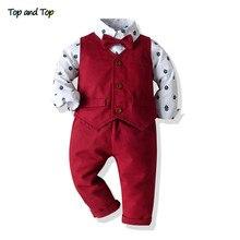 Top and Top Boys Gentleman Clothing Set Cotton Long Sleeve Bowtie Shirt+Waistcoat+Pants 3Pcs Suit Kids Boy Casual Clothes Set