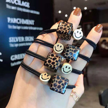 5Pcs Rubber Bands For Hair Women Leopard Small Cubes Ropes Girl Cute Smile Decoration Hairband Ponytail Holder Headwear