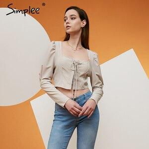 Image 2 - Simplee 빈티지 레이스 업 버튼 여성 블라우스 셔츠 패션 퍼프 슬리브 솔리드 섹시한 숙녀 블라우스 셔츠 캐주얼 파티 우아한 탑