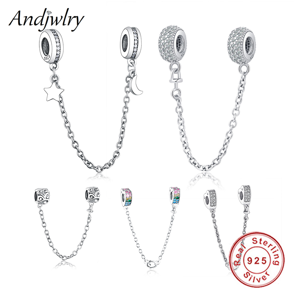 Fit Original Pandora Charms Bracelet 925 Sterling Silver White Zircon Safety Chain Heart Charm Bead DIY Jewelry Making Berloque(China)