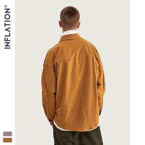 Image 3 - INFLATION DESIGN hommes chemise coupe ample à manches longues hommes chemise couleur unie avec grand père col Streetwear surdimensionné hommes chemise 92153