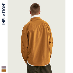 Image 3 - INFLATION DESIGN koszula męska luźny krój z długim rękawem koszula męska Solid Color z Grandad Collar Streetwear Oversized koszula męska 92153