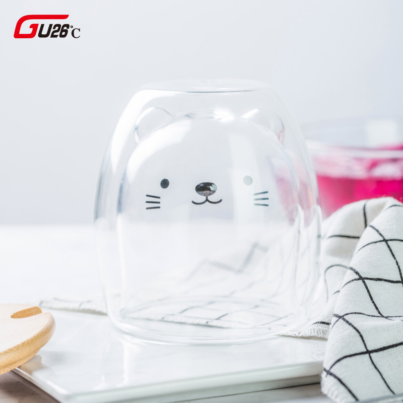 Novlety 270ml Double Layer Coffee Cup High Borosilicate Glass Cold Drink Cup Hot Drink Cup Cute Cat Bear Milk Tea Glass
