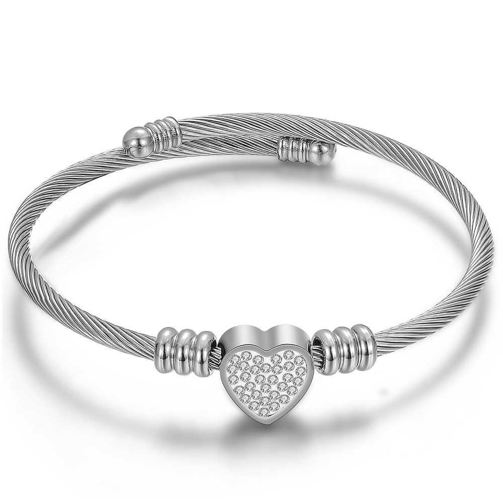 愛ハート型のブレスレット腕輪ステンレス鋼クリスタル女性のファッション宝石類のギフト