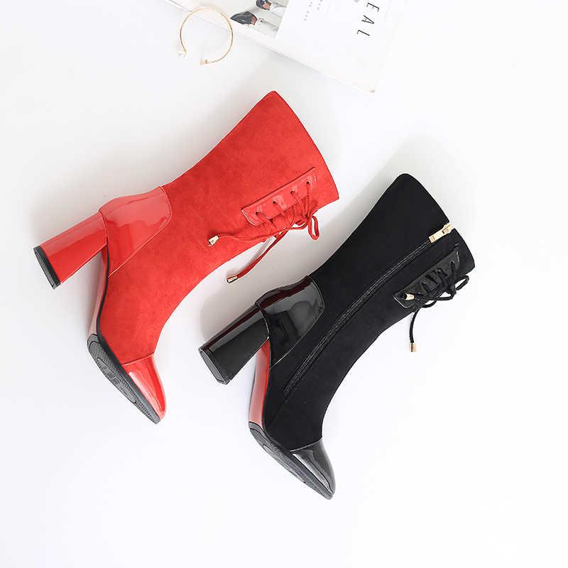 Egonnerie mode mi-mollet bottes rouge noir vache daim cuir verni zipper automne hiver bottes 7.5cm talons chaussures pour femmes