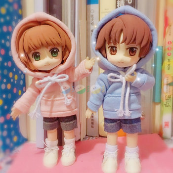 Obitsu11 OB11 doll clothes hoodie with big cap available for cu-poche OB11 doll accessories doll shirts фото