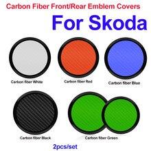 2 pçs abs fibra de carbono 90mm 80mm capa dianteira do carro emblema capas traseiras para octavida bora jetta fabia preto/verde/azul/branco/vermelho