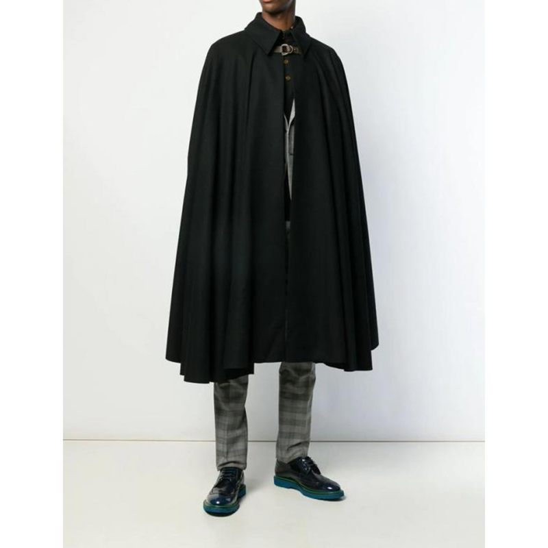 Autumn and winter fashion men loose Cardigan Cape Coat Bat shirt long CAPE WITH A wide-collared woolen trench coat
