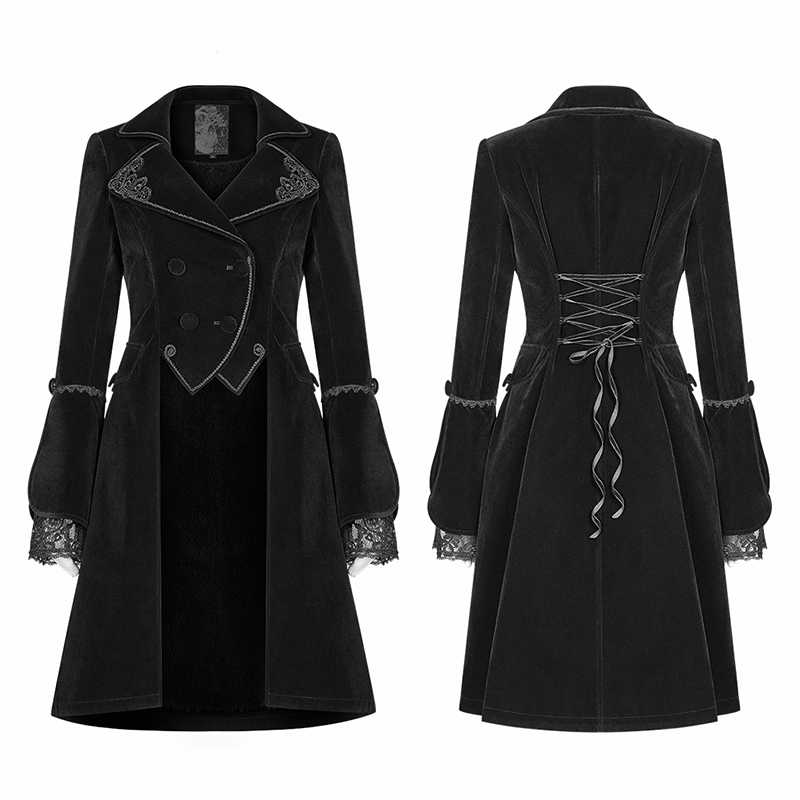 PUNK RAVE Women Gothic Lolita Medium Long Coat Steampunk Retro Palace Party Women Jacket Stage Perform Women Long Jacket in Jackets from Women 39 s Clothing