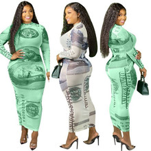 Women Dress Plus Size L-4XL US Dollars Print Round Neck Casu