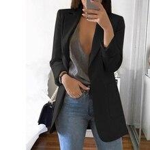 2020 Fashion Autumn Women Slim Blazers Jacket Female Work Office Lady Black Pock