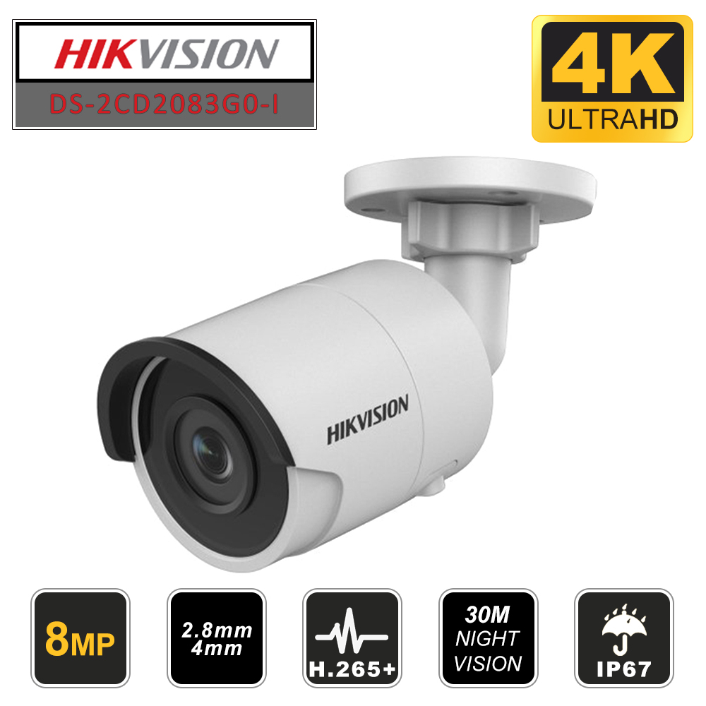 Hikvision Original Bullet 8MP PoE  IP Camera DS-2CD2083G0-I Outdoor Security Camera H.265 With SD Card Slot & 30m Night Vision