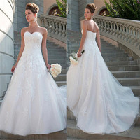 2020 Sexy Sweetheart Lace Appliques Wedding Dresses Custom Spring Long Natural Waistline Women Garden Bridal Gowns Plus Size