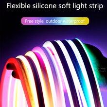 6mm Schmale Neon licht 12V LED Streifen SMD 2835 120LEDs/M  IP67Waterproof DIY soft light bar shape  Dekoration  Weiß/Warm Blau