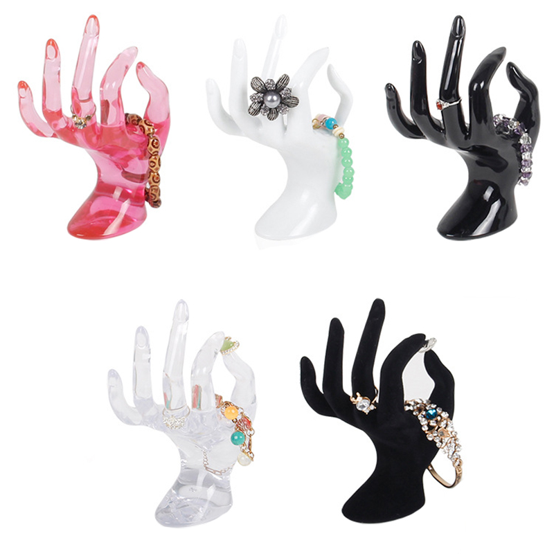 Plastic Mannequin Hand Finger Ring Bracelet Bangle Jewelry Display Stand Holder White Transparent Black Pink 17cm*8cm