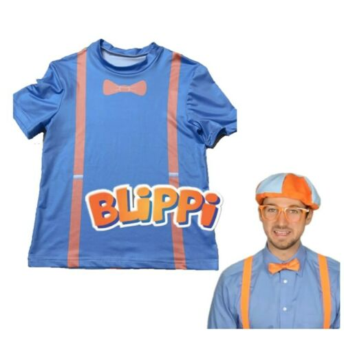 Kids TV Blippi T Shirt Cosplay Tee Short Sleeve Children Blue T-Shirt Top Blouse