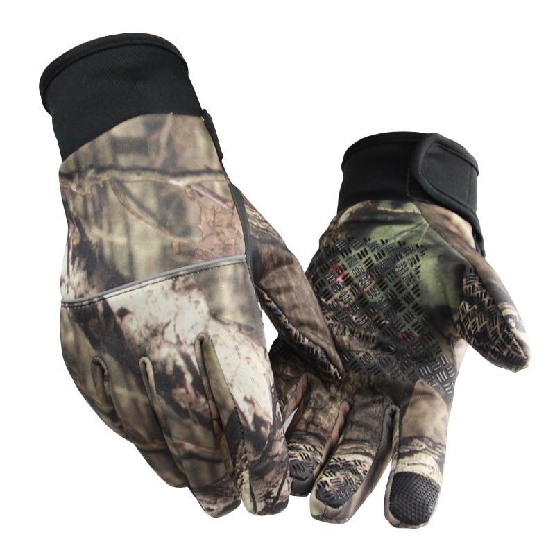 Камуфляжные перчатки для рыбалки с Охотничьи перчатки анти-скольжения 2 пальца вырезать для кемпинга и велосипедных путешествий на полпаль...