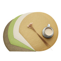 50 Pcs Wholesale Green Brown Beige Gold Round Table Mat Waterproof Table Cloth Pad Slip resistant Pad Dining PVC Placemat D0000