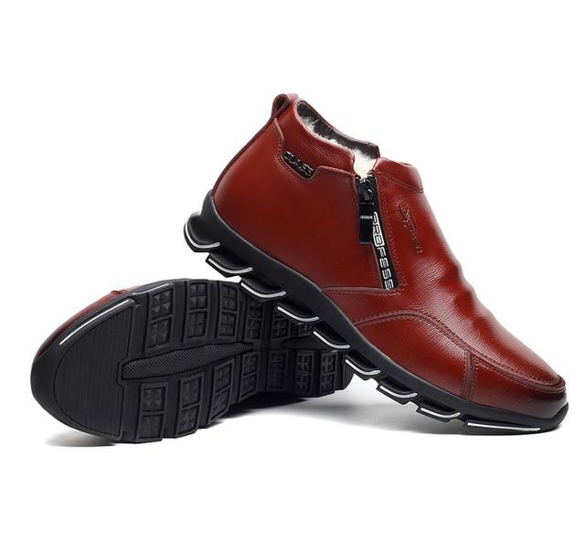 العلامة التجارية الجديدة للرجال الشتاء أحذية جلدية أحذية الصوف والقطن الرجال الفراء الترفيه أحذية عالية أعلى زائد المخملية الدافئة أحذية رجالية 4