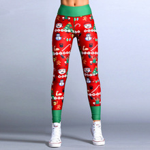 цена на Christmas Leggings Women Casual Elasticity Skinny Christmas Snowman Print Leggins Mujer High Waist Workout Stretchy Pants