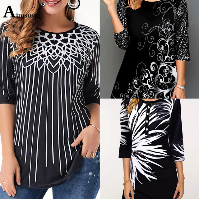 New Elegant Summer Fashion Elasticity Female Casual Loose Ladies print Top Half Sleeve T-Shirt 5